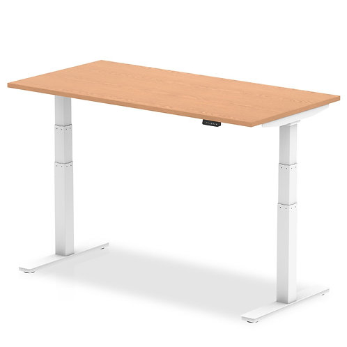 Air Oak Height Adjustable Desk With White Legs