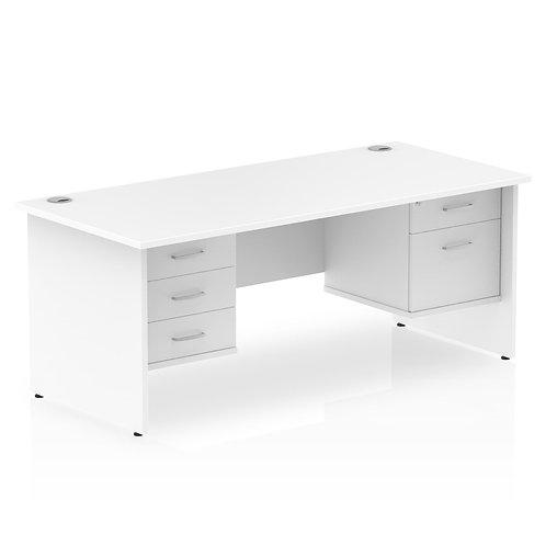 Impulse 1600 Rectangle Desk White 1 x 2 Drawer 1 x 3 Drawer Fixed Ped
