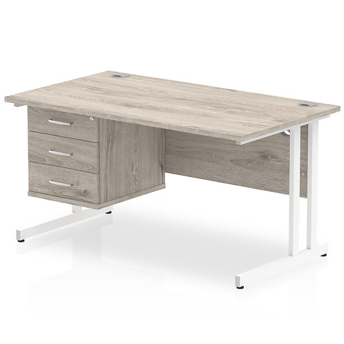 Impulse 1400 Rectangle White Cant Leg Desk Grey Oak 1 x 3 Drawer Fixed Ped