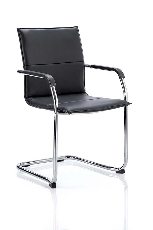 Echo Cantilever Chair Black Soft Bonded Leather With Arms