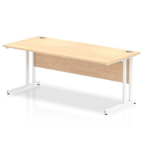 Impulse 1800/800 Rectangle White Cantilever Leg Desk Maple