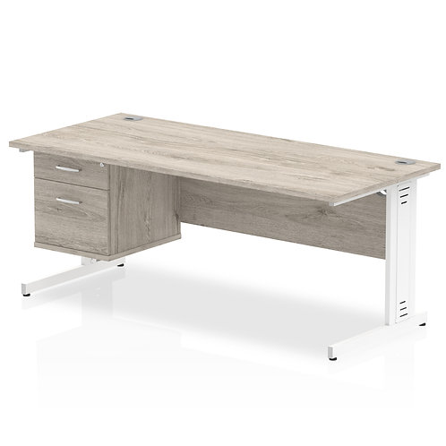 Impulse 1800 Rectangle Desk Grey Oak 1 x 2 Drawer Fixed Ped
