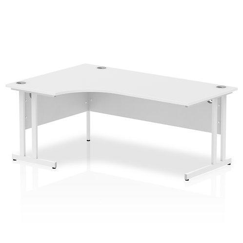 Impulse 1800 Left Hand White Crescent Cantilever Leg Desk White