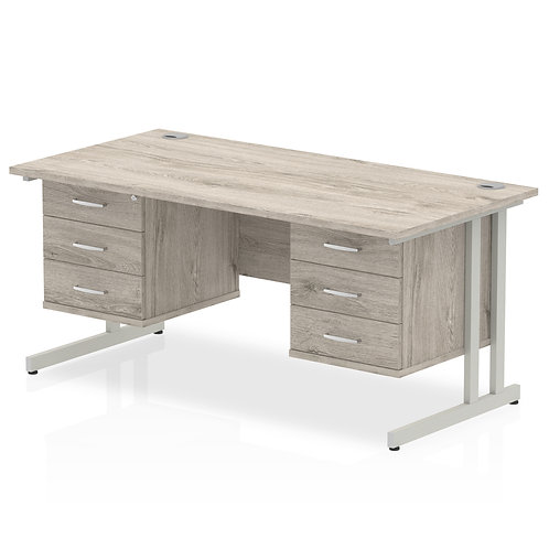 Impulse 1600 Rectangle Silver Cant Leg Desk Grey Oak 2 x 3 Drawer Fixed Ped