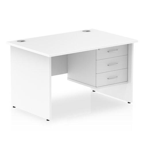 Impulse 1200 Rectangle Panel End Leg Desk White 1 x 3 Drawer Fixed Ped