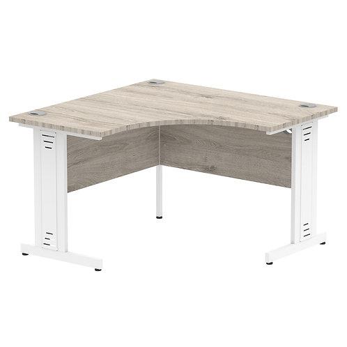 Impulse 1200 Corner Desk White Cable Managed Leg Desk Grey Oak