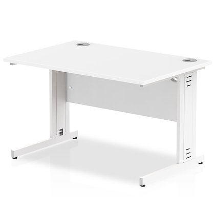 Impulse 1200/800 Rectangle White Cable Managed Leg Desk White