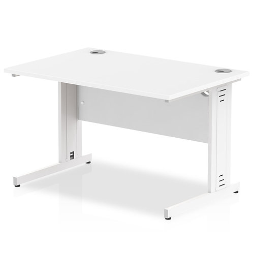Impulse 1200/800 Rectangle White Cable Managed Leg Desk White