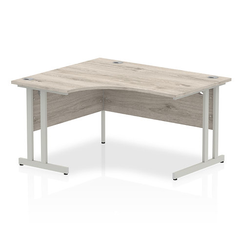 Impulse 1400 Left Hand Silver Crescent Cantilever Leg Desk Grey Oak