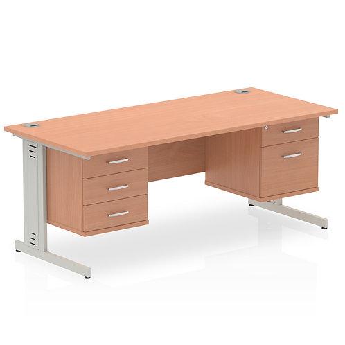 Impulse 1800 Rectangle Desk Beech 1 x 2 Drawer 1 x 3 Drawer Fixed Ped