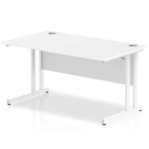 Impulse 1400/800 Rectangle White Cantilever Leg Desk White