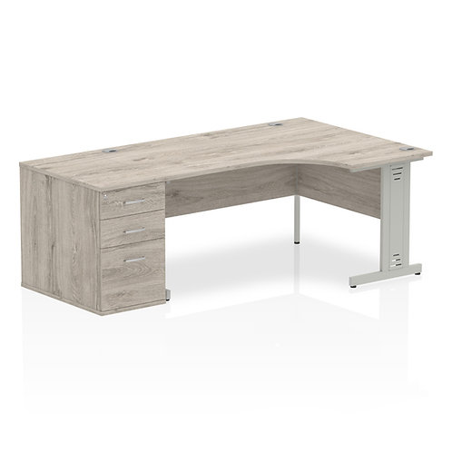 Impulse 1600mm Right Hand Crescent Desk Grey Oak 800 Deep Desk Pedestal Bundle