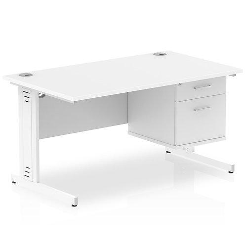Impulse 1400 Rectangle White Cable Managed Leg Desk White 1 x 2 Drawer Fixed Ped