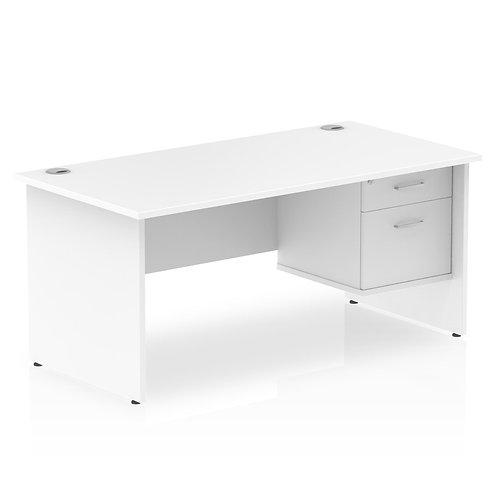 Impulse 1600 Rectangle Panel End Leg Desk White 1 x 2 Drawer Fixed Ped