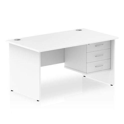Impulse 1400 Rectangle Panel End Leg Desk White 1 x 3 Drawer Fixed Ped