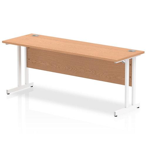 Impulse 1800/600 Rectangle White Cantilever Leg Desk Oak