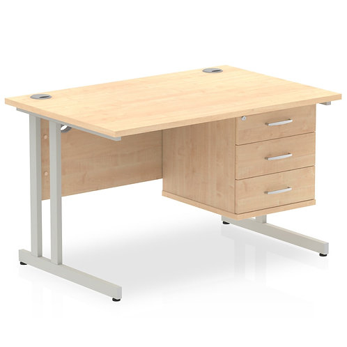 Impulse 1200 Rectangle Silver Cant Leg Desk Maple 1 x 3 Drawer Fixed Ped
