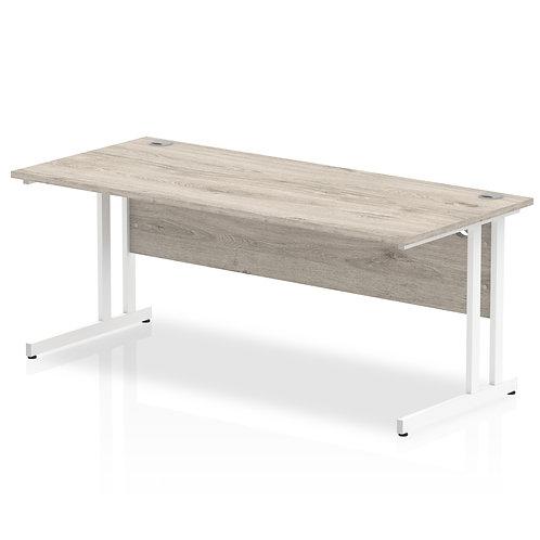 Impulse 1800/800 Rectangle White Cantilever Leg Desk Grey Oak