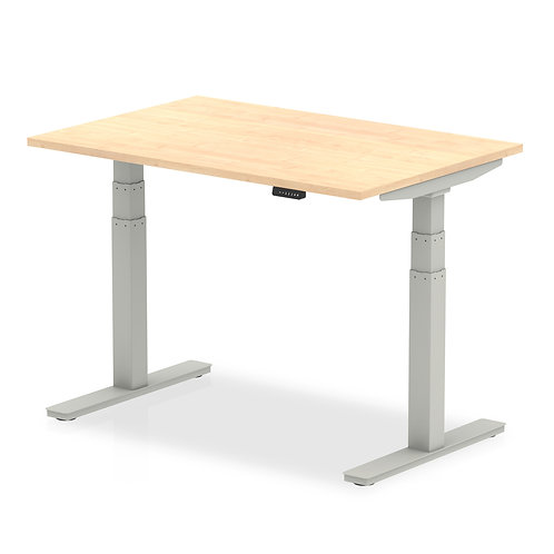 Air Maple Height Adjustable Desk With Silver Legs