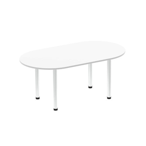 Impulse 1800 Boardroom Table White Brushed Aluminium Post Leg