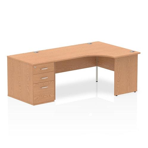 Impulse 1600mm Right Hand Crescent Desk Oak End Leg Package Deal