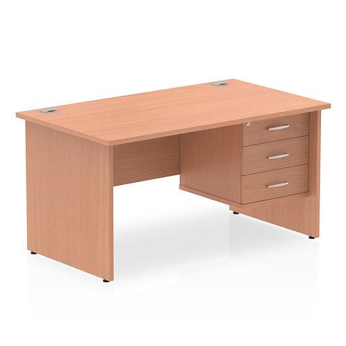 Impulse 1400 Rectangle Panel End Leg Desk Beech 1 x 3 Drawer Fixed Ped