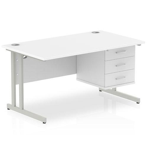 Impulse 1400 Rectangle Silver Cant Leg Desk White 1 x 3 Drawer Fixed Ped