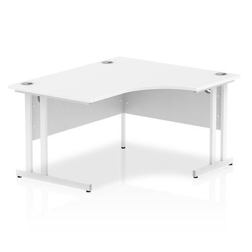 Impulse 1400 Right Hand White Crescent Cantilever Leg Desk White
