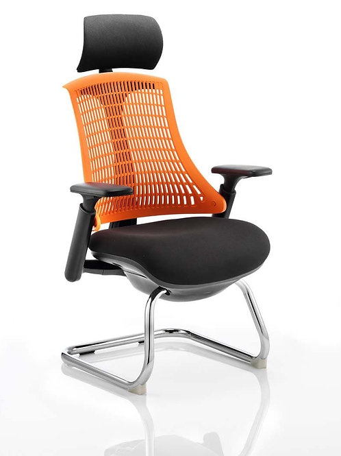 Flex Visitor Cantilever Chair Black Fabric Seat With Orange Back With Headrest