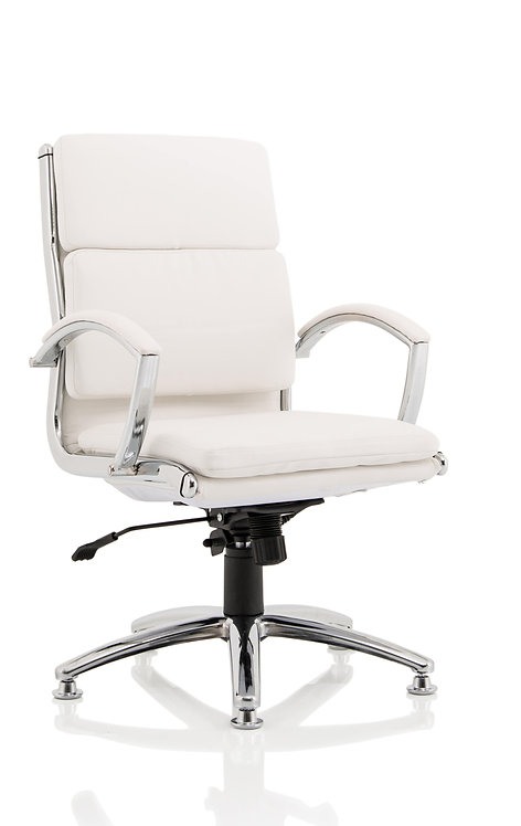 Classic Executive Chair Medium Back White With Arms With Chrome Glides
