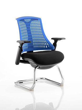 Flex Visitor Cantilever Chair Black Fabric Seat With Blue Back