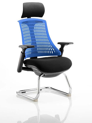 Flex Visitor Cantilever Chair Black Fabric Seat With Blue Back With Headrest