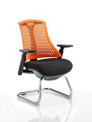 Flex Visitor Cantilever Chair Black Fabric Seat With Orange Back