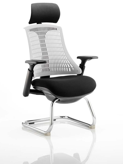 Flex Visitor Cantilever Chair Black Seat With Moonstone White Back With Headrest