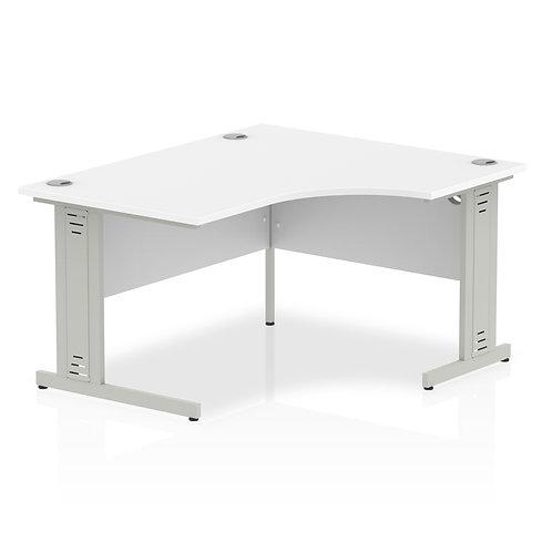 Impulse 1400 Right Hand Silver Crescent Cable Managed Leg Desk White