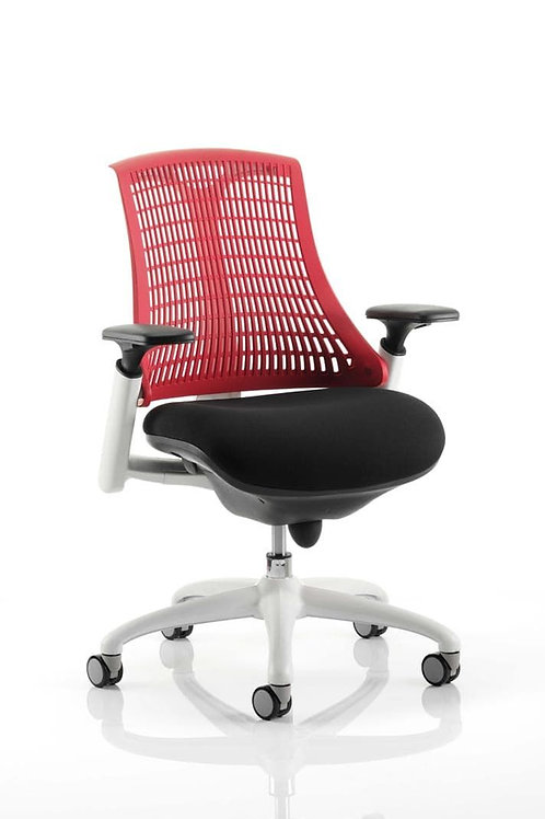 Flex Task Operator Chair White Frame Black Fabric Seat With Red Back With Arms