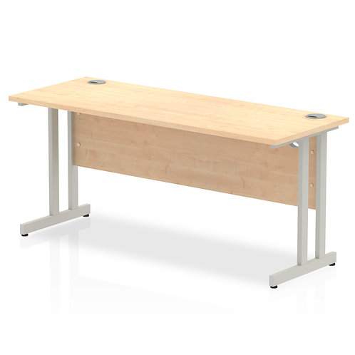Impulse 1600/600 Rectangle Silver Cantilever Leg Desk Maple