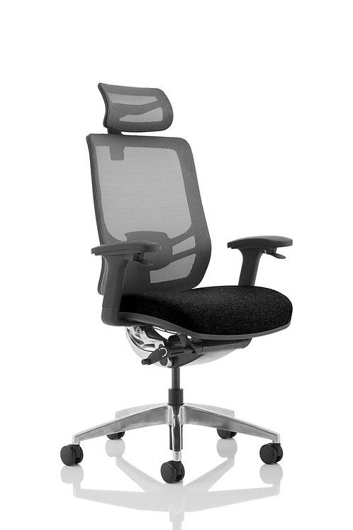 Ergo Click Black Fabric Seat Black Mesh Back with Headrest