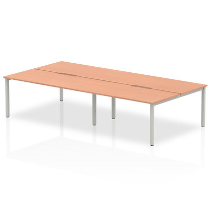 B2B Silver Frame Bench Desk 1600 Beech (4 Pod)