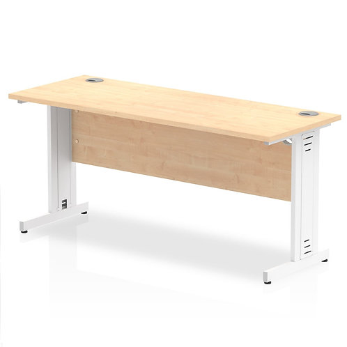 Impulse 1600/600 Rectangle White Cable Managed Leg Desk Maple