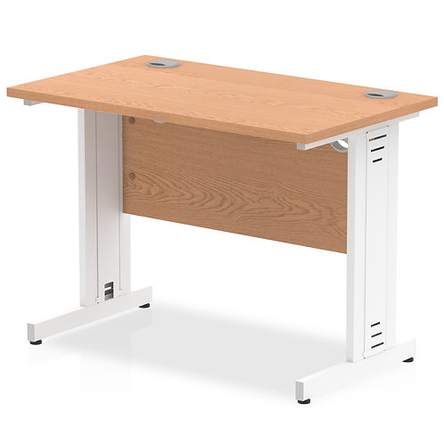 Impulse 1000/600 Rectangle White Cable Managed Leg Desk Oak