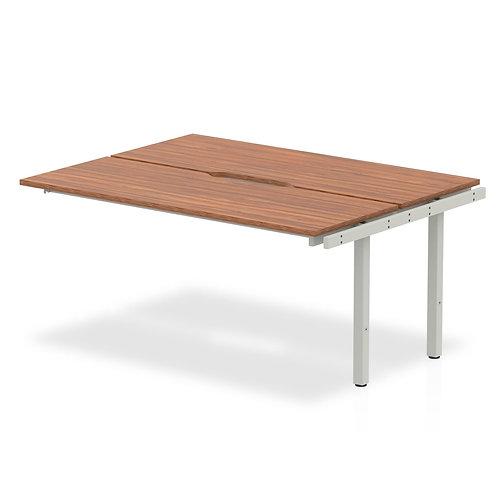 B2B Ext Kit Silver Frame Bench Desk 1600 Walnut