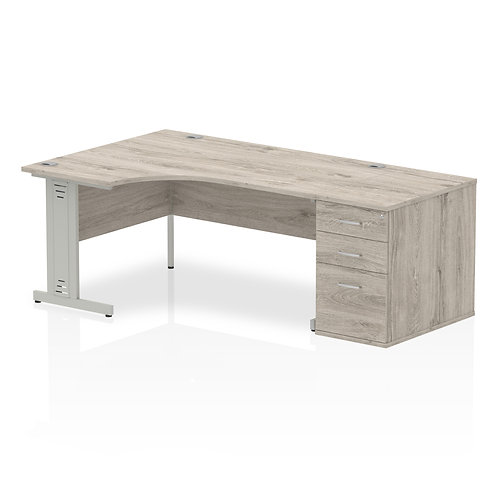 Impulse 1600 Left Hand Crescent Desk Grey Oak Cable Managed Leg Bundle