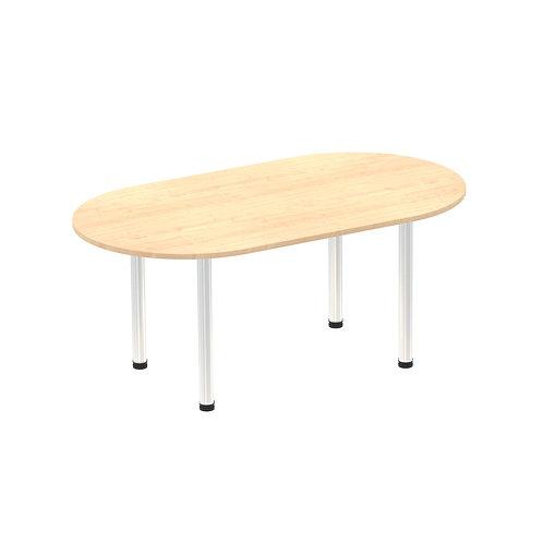 Impulse 1800 Boardroom Table Maple Brushed Aluminium Post Leg