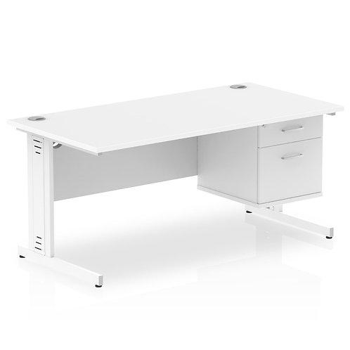 Impulse 1600 Rectangle White Cable Managed Leg Desk White 1 x 2 Drawer Fixed Ped