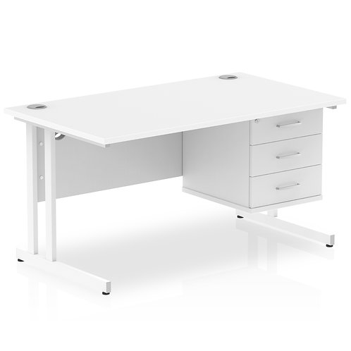 Impulse 1400 Rectangle White Cant Leg Desk White 1 x 3 Drawer Fixed Ped