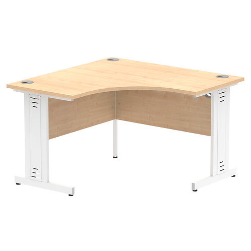 Impulse 1200 Corner Desk White Cable Managed Leg Desk Maple