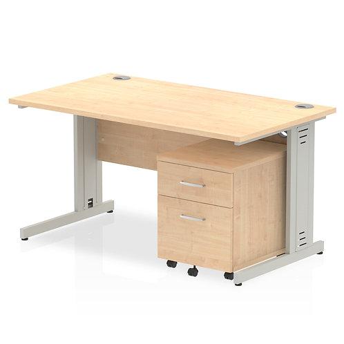 Impulse 1400 x 800mm Straight Desk Maple Top Pedestal Bundle
