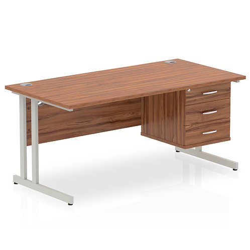Impulse 1600 Rectangle Silver Cant Leg Desk Walnut 1 x 3 Drawer Fixed Ped