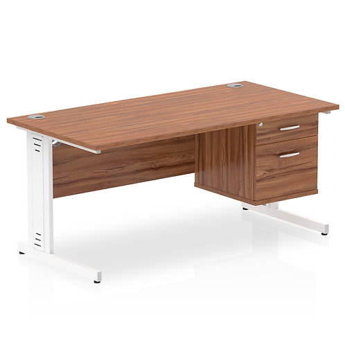 Impulse 1600 Rectangle Desk Walnut 1 x 2 Drawer Fixed Ped